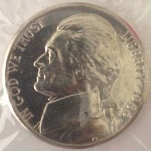 1986 P JEFFERSON NICKEL 5C - MS / BU - UNC