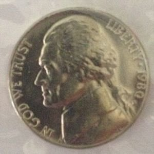 1980 D JEFFERSON NICKEL 5C - BU