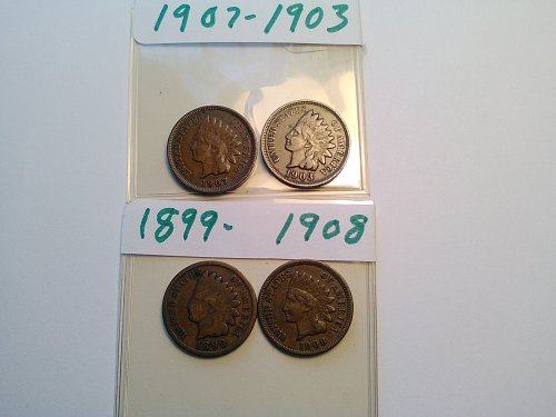 4 DIFFERENT INDIAN HEAD CENTS