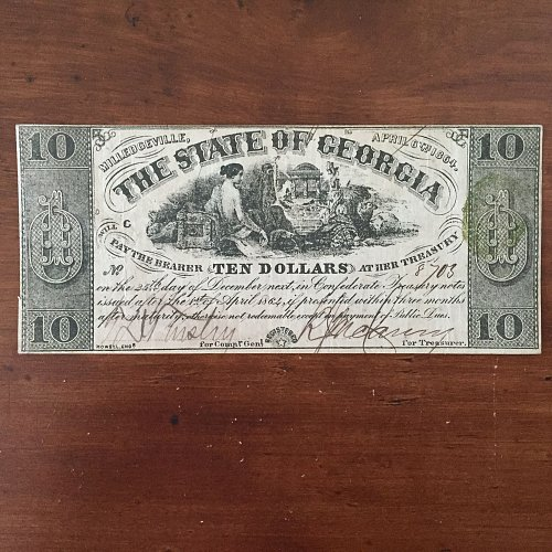 1864 Confederate State of Georgia $10 Ten Dollar Banknote AUTHENTIC & RARE BUY/O