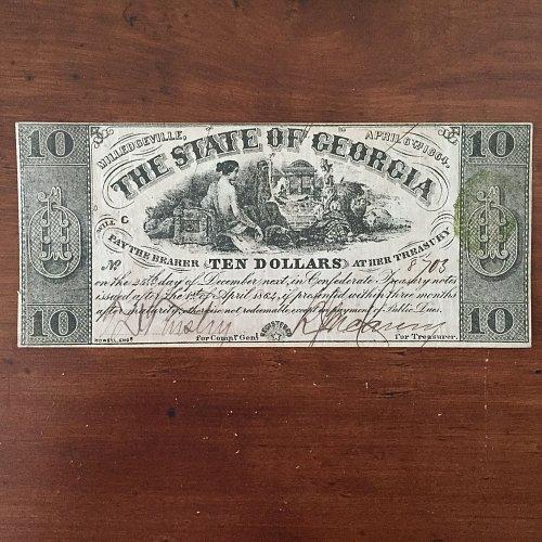 1864 Confederate State of Georgia $10 Ten Dollar Banknote AUTHENTIC & RARE BUY/O