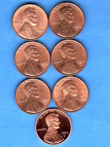 BU Lincolns Mixed Dates 1944 S to 1992 Genuine Natural US Coins