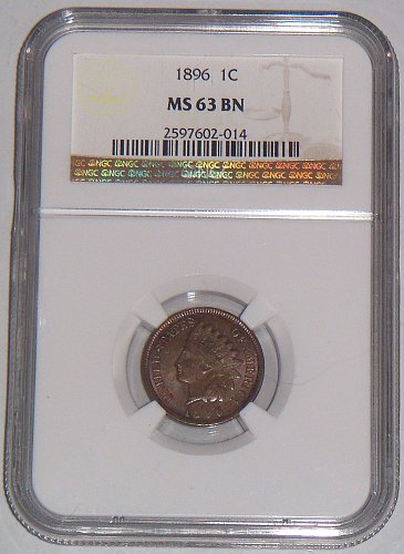 NGC 1896 1 CENT INDIAN HEAD PENNY MS63 BN SUPER NICE COIN