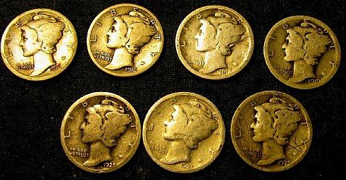 1916,16S,18S,19S, & 1925 P,D, & S Mercury Silver Dimes  Free s/h  !!