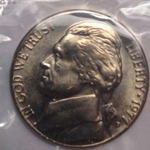1977 D JEFFERSON NICKEL 5C - MS/BU