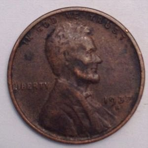 1937 S LINCOLN WHEAT PENNY
