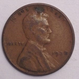 1938 P LINCOLN WHEAT PENNY