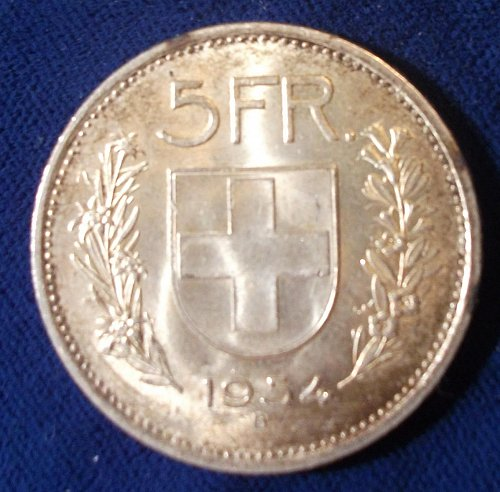 BU Toned 1954 Switzerland 5 Francs