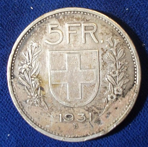 1931 Switzerland 5 Francs VF