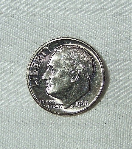 1966 U.S. SMS Roosevelt Dime 10 Cent Coin, Brilliant Uncirculated