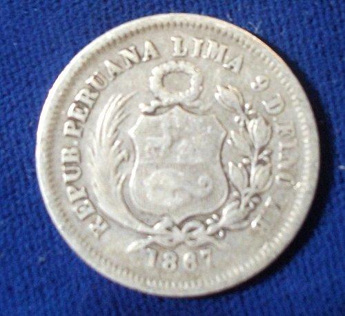 1867YB Peru 1/5 Sol Fine