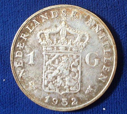 1952 Netherlands Antilles 1 Gulden VF