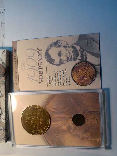 COINS OF AMERICA - CASED 1909-VDB WHEAT CENT AND REPLICA TOKEN