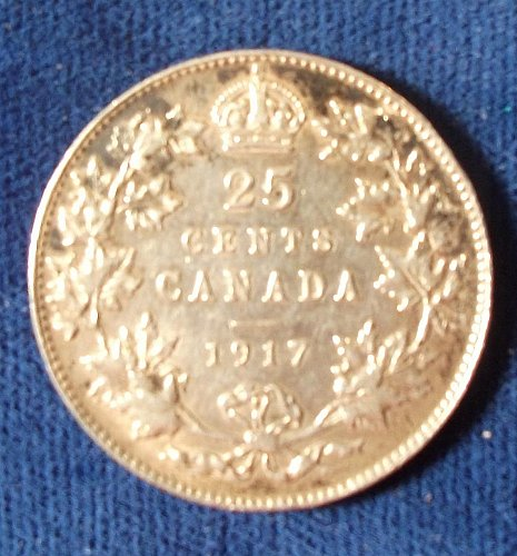 1917 Canada 25 Cents, XF