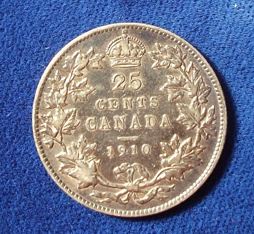 1910 Canada 25 Cents, VF+