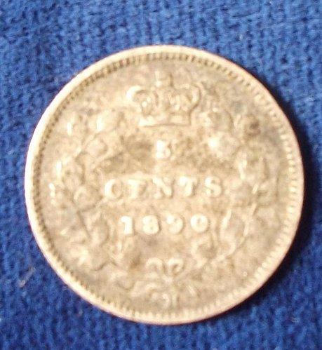 "1890H Canada 5 Cents ""Fishscale"" Fine"