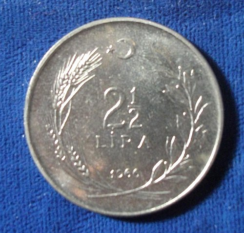 1966 Turkey 2 1/2 Lira BU