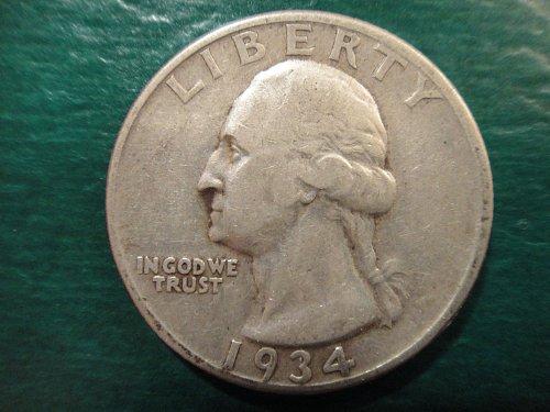 1934-D Washington Quarter Very Fine-30 Nice Original Pearl Grey Silver!