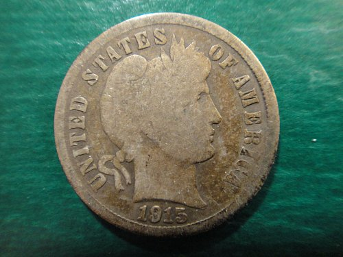 1915-S Barber Dime Good-4 Nice Original Dark Silver Tone On Obverse!