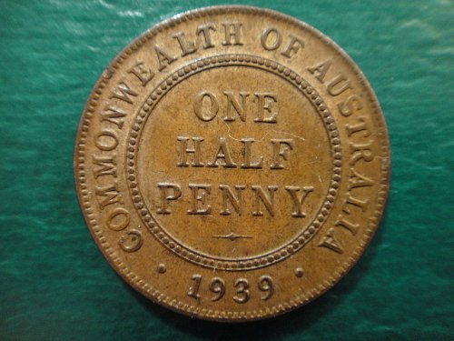 AUSTRALIA Half Penny 1939-M Type 1 MS-63 (Choice BU) KM#35 Some Rev Hints of Red