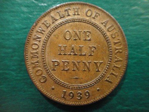 AUSTRALIA Half Penny 1939-M Type 1 MS-63 (Choice BU) KM#35 Some Rev Hints of Red