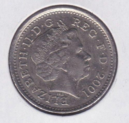 2001 England 10 Pence Coin - Queen Elizabeth