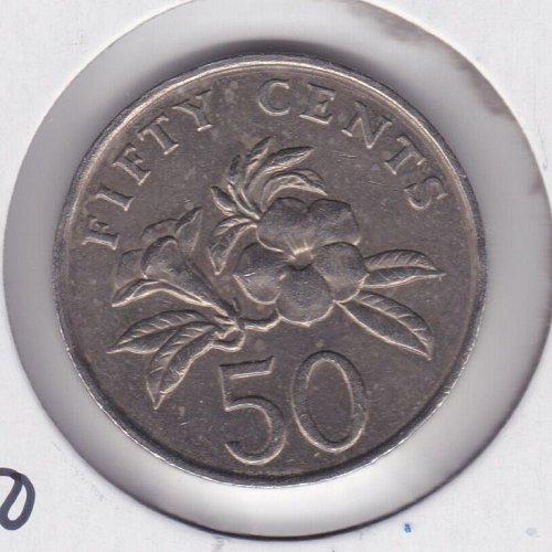 1986 Signapore 50 Cents Coin - Singapura