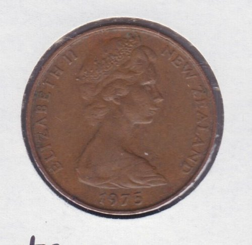 1975 New Zealand 2 Cents Coin - Kowhal Leaves