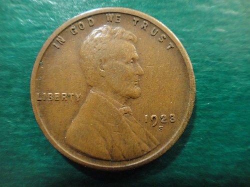 1923-S Lincoln Cent Very Fine-30 Sharp Strike & Nice Chocolate Brown!