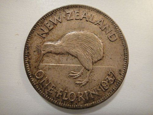 NEW ZEALAND Florin 1937 Extra Fine-45 50% SILVER 0.1818 ASW KM#10.1