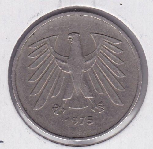 1975 g german 5 deutsche mark coin deutschlan vintage. Black Bedroom Furniture Sets. Home Design Ideas