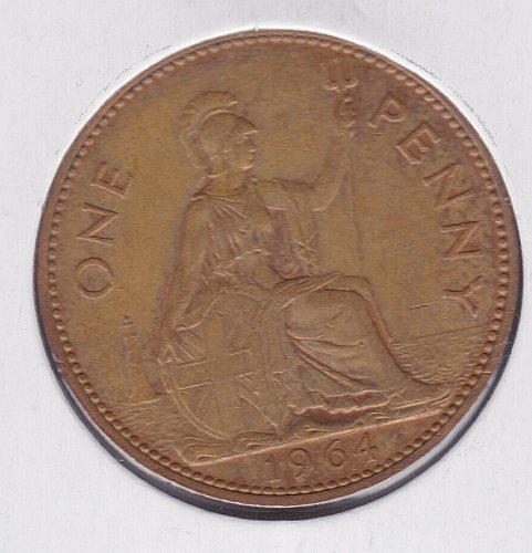 1964 England One Penny Coin