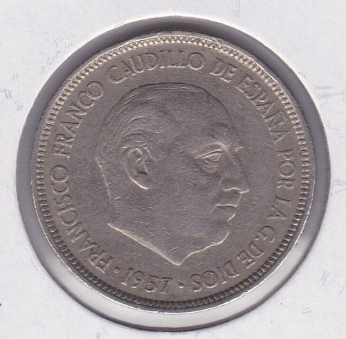1957 Spain 5 Ptas Coin - 75 in Star