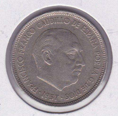 1957 Spain 5 Ptas Coin - 75 in Star
