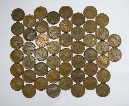 1919P Lincoln Wheat Cents ROLL(#102) 50 Coins Good= $9.50