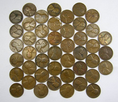1919P & D Lincoln Wheat Cents ROLL(#103) 51 Coins, Good = $9.89