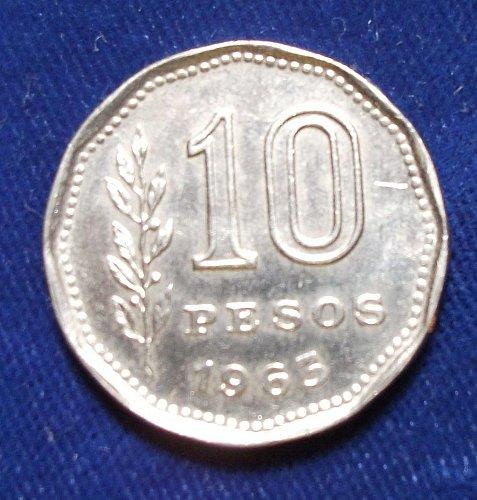 1963 Argentina 10 Pesos BU