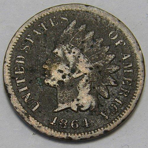 1864L Indian Head Cent #6    RPD 64/64 Snow14.