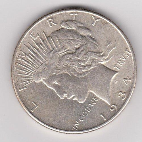 AU 1934 PEACE SILVER DOLLAR GOOD LOOKING COIN
