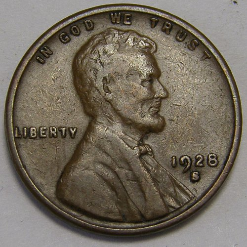 1928 S Lincoln Wheat Cent #9  LARGE S Variety