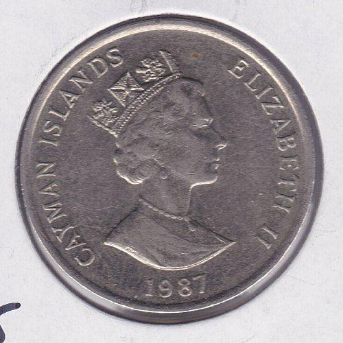 1987 Cayman Islands - 25 Cents - 25C - Queen Elizabeth