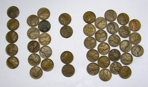 1916D to 1919D Lincoln Wheat Cents ROLL(#104) 42 Coins Good = $ 26.50