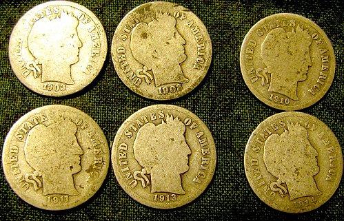 6 SILVER BARBER Dimes 1903, 08',10', 11', 13',& 14'- A-02