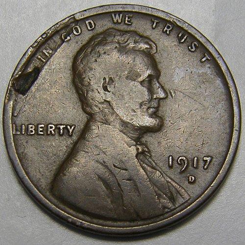 1917 D Lincoln Wheat Cent #5  Strike through error Obverse
