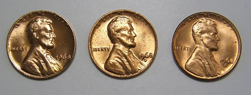 1968 P D S Lincoln Memorial Cents All 3 coins!