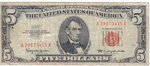 1963 $5.00 RED SEAL  UNITED STATES NOTE
