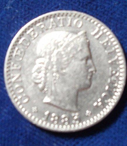 1885 Switzerland 20 Rappen VF+