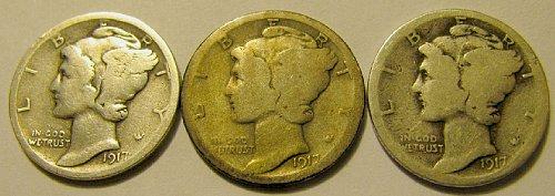 3 mercury Dimes 1917 P, D, & S   A-15