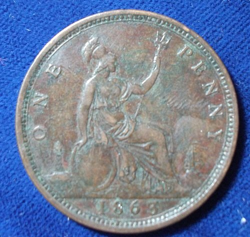 1863 Great Britain Penny VF+
