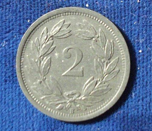 1945B Switzerland 2 Rappen UNC